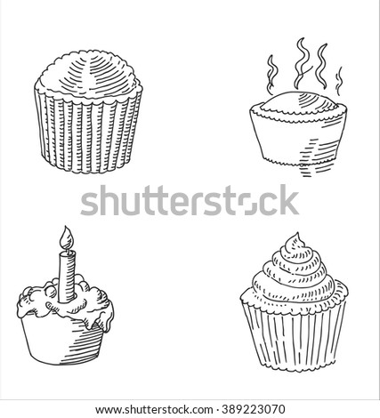 Tasty cake or  cupcake with birthday candle, cupcake and muffin food sketch  drawing.  For bakery, restaurant and  cafe design - stock vector