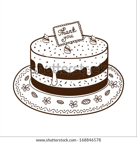 Tasty cake pie with thanksgiving nameplate. Sketch vector illustration - stock vector