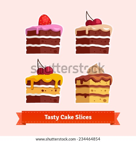 jist card template - vector cake collection strawberry black forest stock