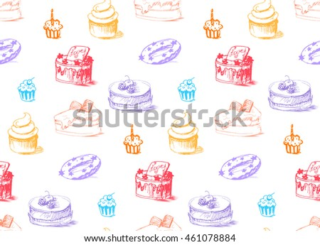 Tasty Cakes Seamless Pattern. Cream Food Background. Bakery sticker and wrap, print and fabric. Candy, sweet wallpaper. Vector