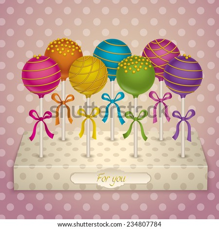 Tasty candy on a stand. Delicacy Cake Pops with gold decoration. Vector Illustrations. - stock vector