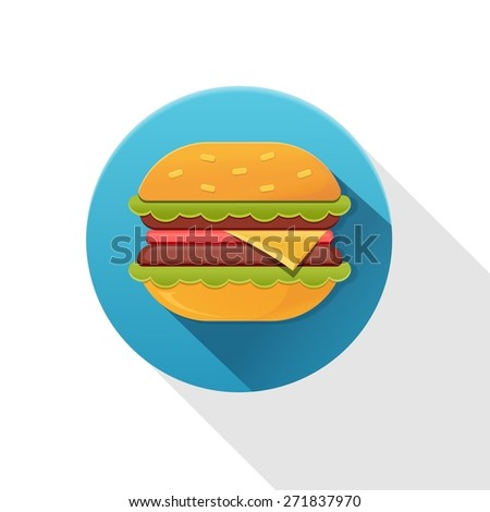 Tasty hamburger icon with meat, tomato, salad and cheese. Vector illustration. - stock vector