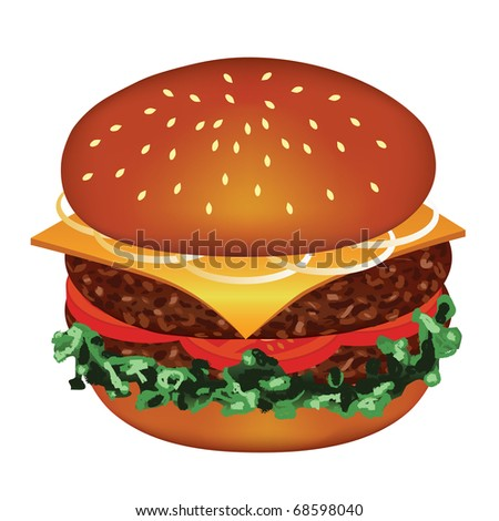 tasty hamburger with meat, tomato, cheese, salad, onion - stock vector