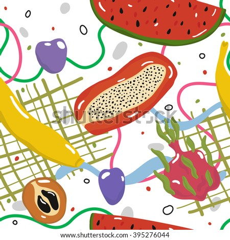 Tasty juicy fruits. Delicious fruits seamless vector pattern. Good for printing on tablecloth or towel - stock vector