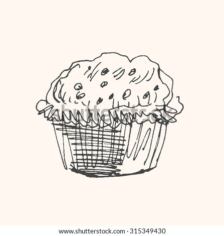 Tasty muffin, cupcake, cookies or cake icon, in sketch hand drawn style, for  pastry bakery food business design. Vector - stock vector