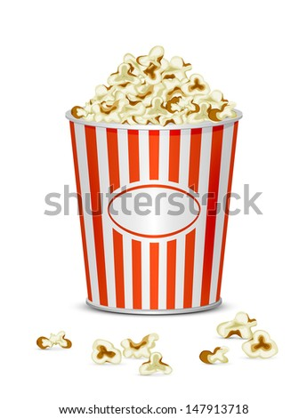 Tasty popcorn isolated on a white background, illustration. - stock vector