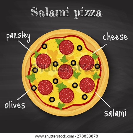 tasty salami pizza on chalkboard background with written ingredients - stock vector