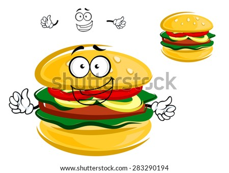 Tasty tempting cartoon hamburger character with fresh lettuce, tomato and onion with a beef patty on a bun - stock vector