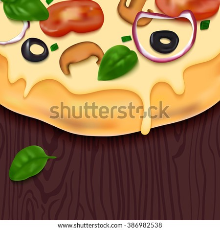 Tasty Vector Pizza on Wooden Table. Fast Food Delicious Background. Realistic Snack Illustration. Colorful Design Concept for Pizzeria Menu, Web Banners or Packaging. - stock vector
