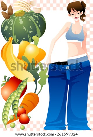 Tasty Vegetarian Diet and Healthy Food, Success Weight Loss - happy smiling and cute young female and sweet fruits and fresh vegetables on white background of pink chess patterns : vector illustration - stock vector