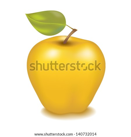 Tasty yellow apple with green leaf isolated on white background