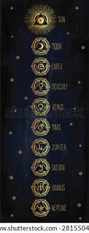 Tattoo Art Set Astrology Medieval Alchemist Stock Vector 281550434 ...
