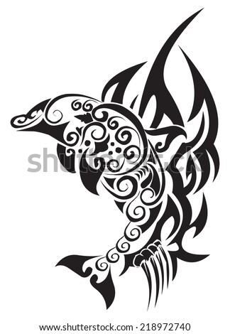 Tattoo design of dolphin fish, vintage engraved illustration.  - stock vector