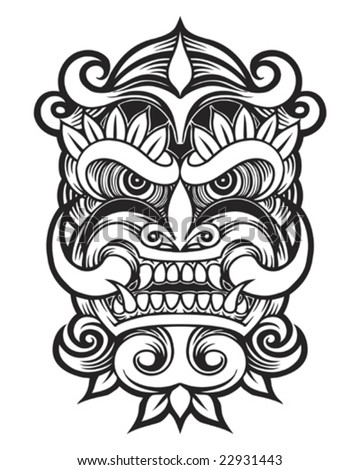 tattoo devil mask - stock vector