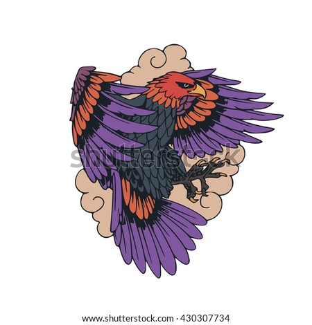 tattoo eagle illustration object vector - stock vector