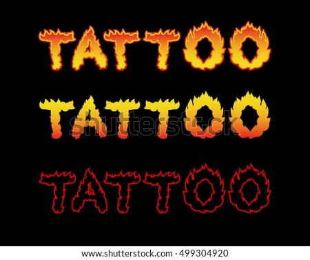 Tattoo fire letters. Flame lettering. Comics font