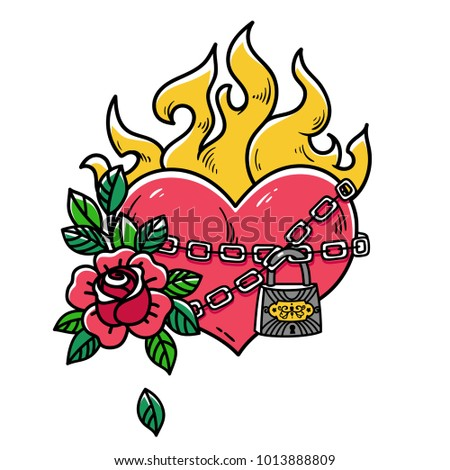 Tattoo Flaming Heart Bound By Chains Stock Vector 1013888809