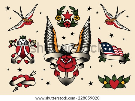 Tattoo Flash Flash vector illustration. - stock vector