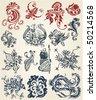 tattoo floral elements vintage vector design - stock vector