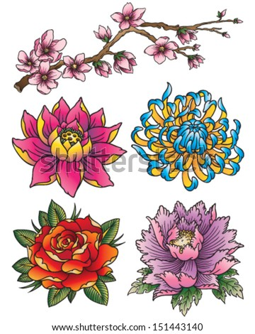 Tattoo Flower Set - stock vector