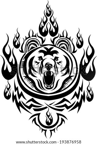 tattoo grizzly - stock vector
