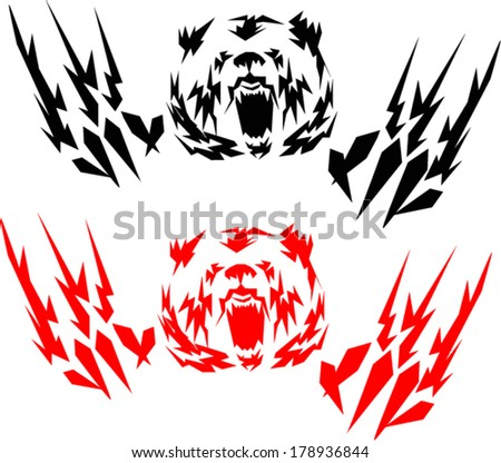 tattoo grizzly Bear.vector - stock vector