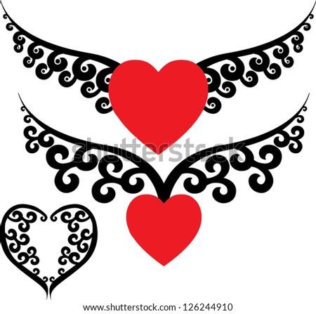 Tattoo hearts - stock vector