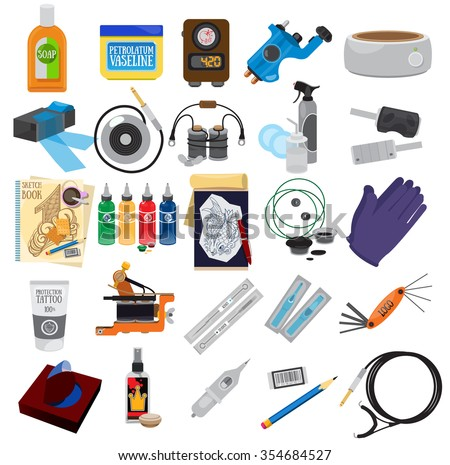 Tattoo kit and equipment, icons, tools