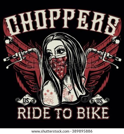 Tattoo motorcycle biker girl black white stock vector for Biker chick tattoos