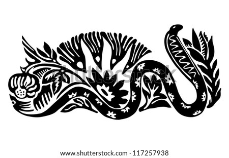 Tattoo of a cobra in flowers - stock vector