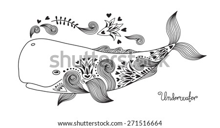 Tattoo Print Happy Whale with Patterns. Vector Illustration. - stock vector