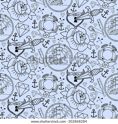 Tattoo seamless pattern with different hand drawn elements. Old school