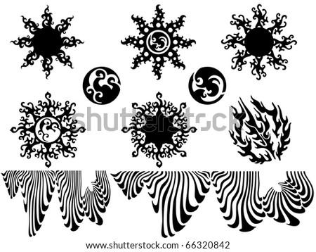 tattoo set, vector illustration - stock vector