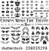 Tattoo set - Wings, Crowns, fire, monograms. - stock