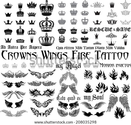 Tattoo set - Wings, Crowns, fire, monograms. - stock vector