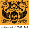 tattoo skull and gun vector art - stock vector