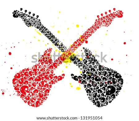 tattoo skull guitar vector art - stock vector
