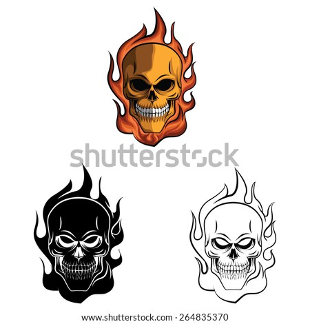 Tattoo Skulls set collection,isolated on white background.Vector illustration - stock vector