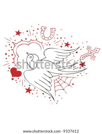 tattoo sparrow outline - stock vector