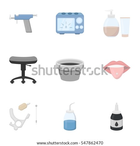 Tattoo studio set icons in cartoon style. Big collection of tattoo studio vector symbol stock illustration