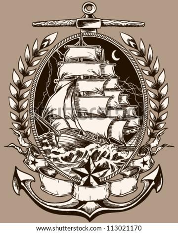 Tattoo Style Pirate Ship In Crest - stock vector