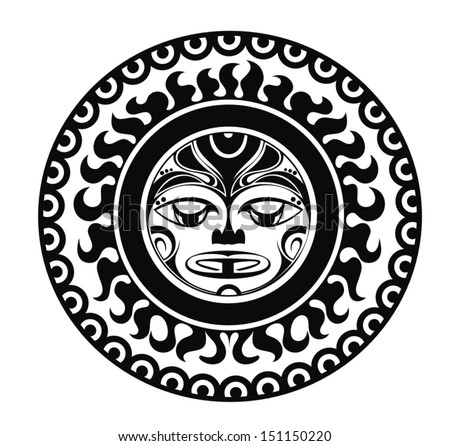 Tattoo styled mask - stock vector