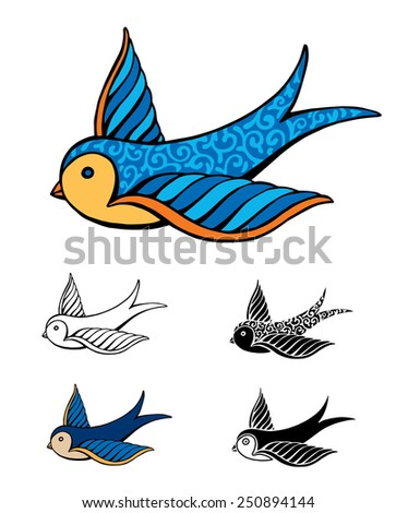 Tattoo Swallow - stock vector