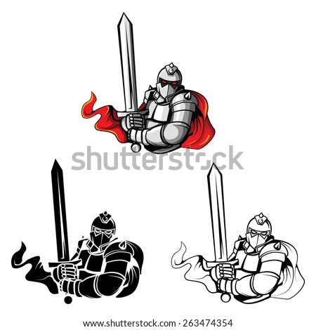 Tattoo Symbol Of Knights Warriors set collection,isolated on white background.Vector illustration - stock vector