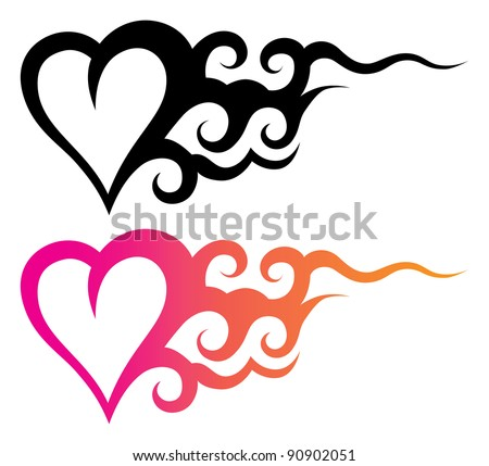 tattoo template of a heart with abstract ornament - stock vector
