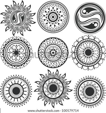 Tattoo, the mandala. A set of ethnic tattoos and mandalas. - stock vector