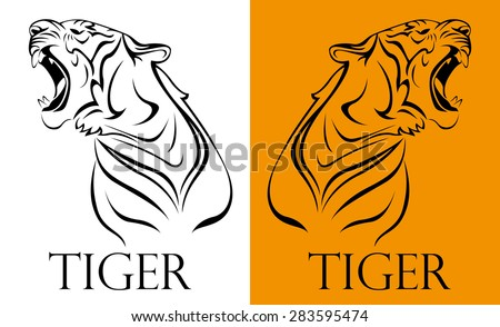 tattoo tiger logotype - stock vector