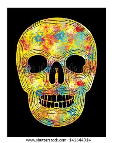 tattoo tribal floral skull vector art - stock vector