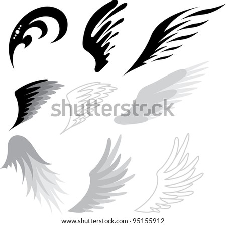 tattoo wings - stock vector