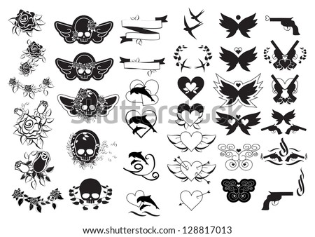 tattoos set isolated on white background stock vector royalty free